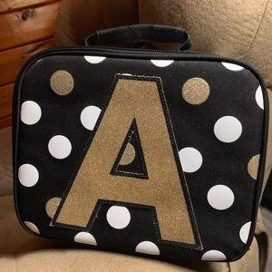 "Justice Lunch Box ""A"" polka dot glitter"
